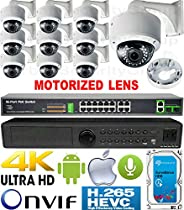 USG 4MP 10 Camera H.265 HD PoE IP CCTV Kit : 1x 24 Channel Ultra 4K NVR + 10x DOME Cameras + 1x PoE Switch + 1x 4TB HDD : 2.8-12mm Motorized Auto-Focus Lens : IR LED : FREE Phone App : 3 YEAR WARRANTY