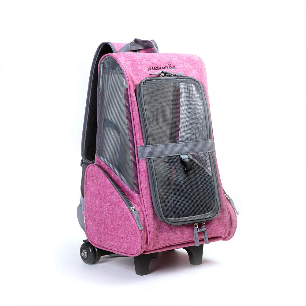 Pink YOCC Pet Carrier Backpack,Pet rod backpack Universal wheel 900d Oxford Cloth with Mesh Portable Pet Carrier Airline Approve for Large and Medium Dogs Can Carry 5kg,bluee