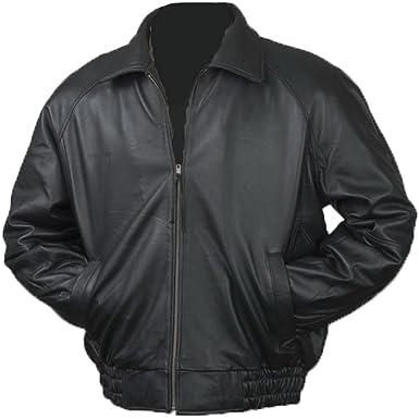 4abc4ec0b Burk s Bay Men s Lamb Leather Classic Bomber Jacket at Amazon Men s ...