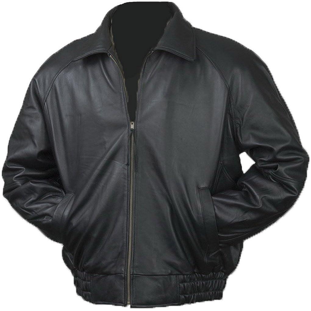 2440d4be7 Burk s Bay Men s Lamb Leather Classic Bomber Jacket XL Black  Amazon ...
