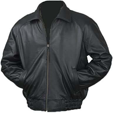 Burk's Bay Men's Lamb Leather Classic Bomber Jacket at Amazon ...