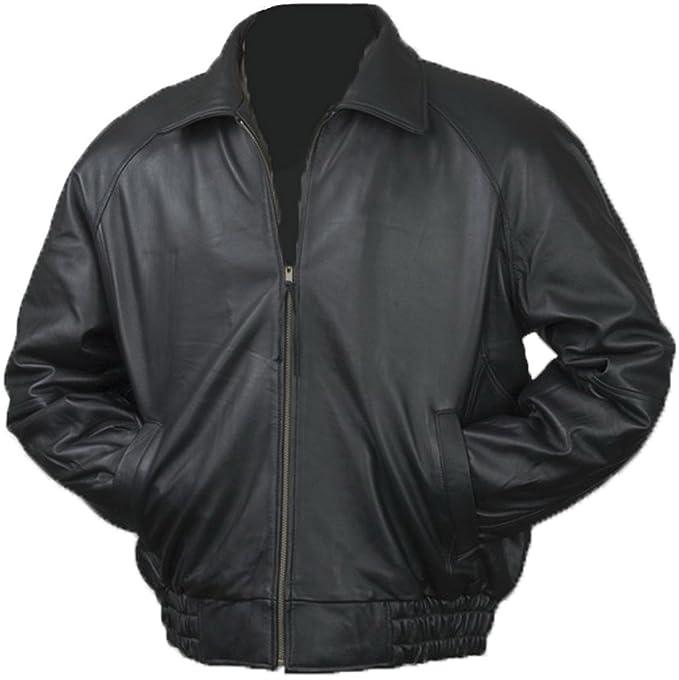 Burks Bay Mens Lamb Leather Classic Bomber Jacket
