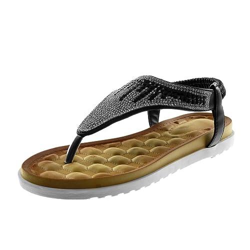 Angkorly - Zapatillas Moda Sandalias Chanclas Correa Slip-on Suela de Zapatillas Mujer Strass tacón Plano 2.5 CM: Amazon.es: Zapatos y complementos