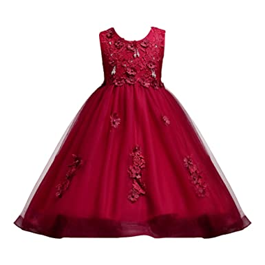 4ce0fb3bd0ca IBTOM CASTLE Girls Flower Formal Wedding Bridesmaid Party Christening Dress  Children Clothing Girls Lace Dress Princess