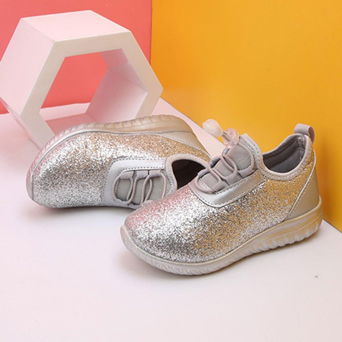 YIBLBOX Boys Girls Toddler Glitter Sport Trainers Lightweight Sneakers Breathable Causal Shoes