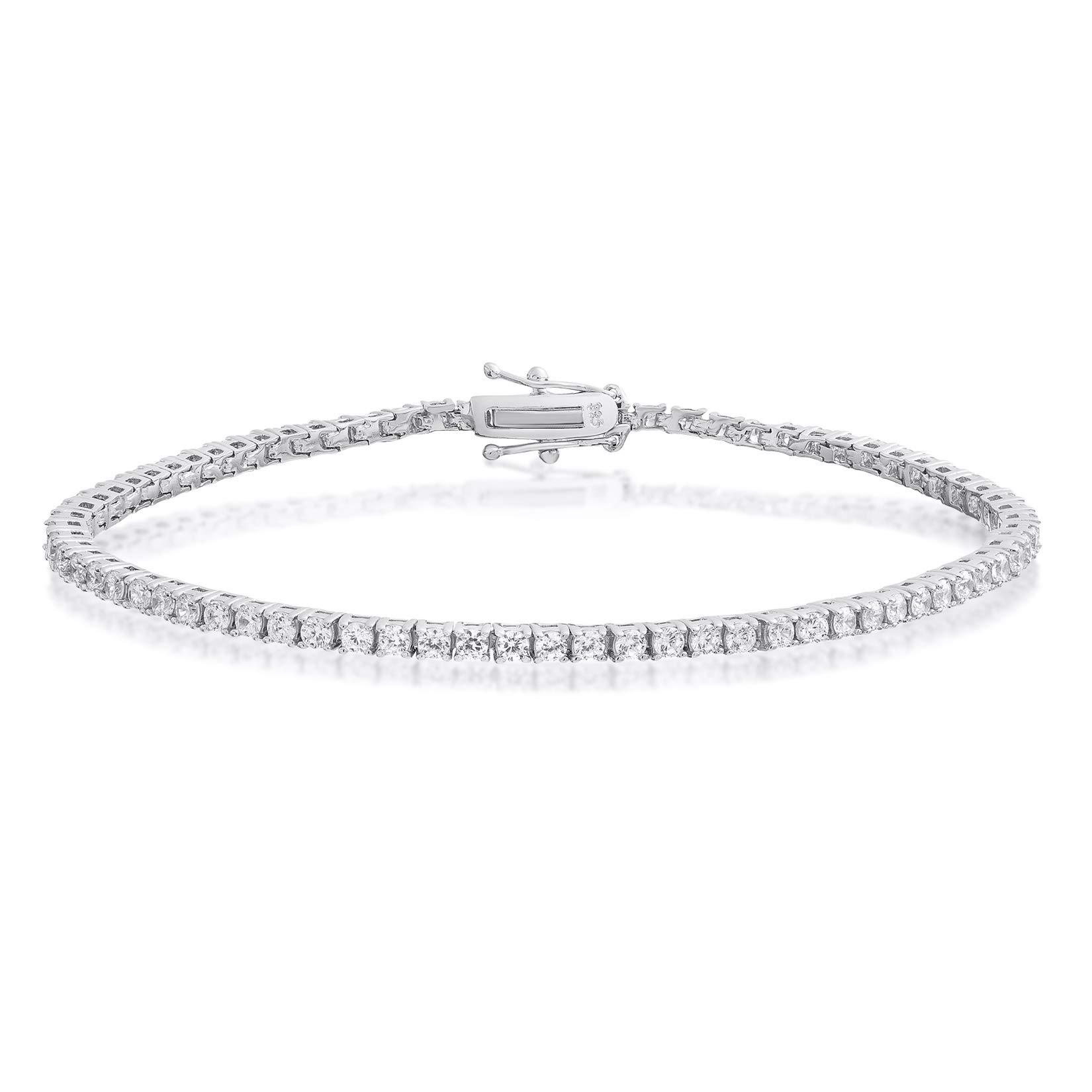 Sterling Silver Round Cut 2mm Cubic Zirconia Tennis Bracelet 6.5 inch