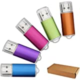 JUANW 5 Pieces 32GB USB 2.0 Flash Drive Memory Stick Storage Thumb Stick Pen (Five Mixed Colors: Blue Purple Pink Green Orange)