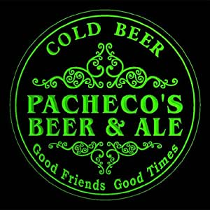 4x ccqs1642-g PACHECO'S Beer & Ale Cold Drink Bar Etched Engraved 3D Coasters