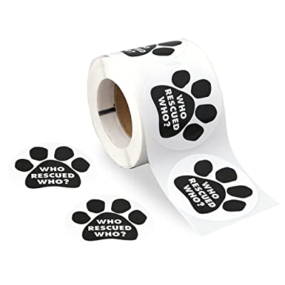 250 Who Rescued Who Black Paw Print Stickers on a Roll (Who Rescued Who): Toys & Games