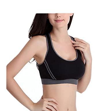 1a64f81a6e Sexy Womens Shock Absorber Push Up Padded Pump Sports Bra Racerback Crop  Top Running Aerobics Gym Sports Zumba Dance Yoga Vest  Amazon.co.uk   Clothing