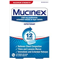 Mucinex Maximum Strength 12-Hour Chest Congestion Expectorant Tablets 14-Count Box