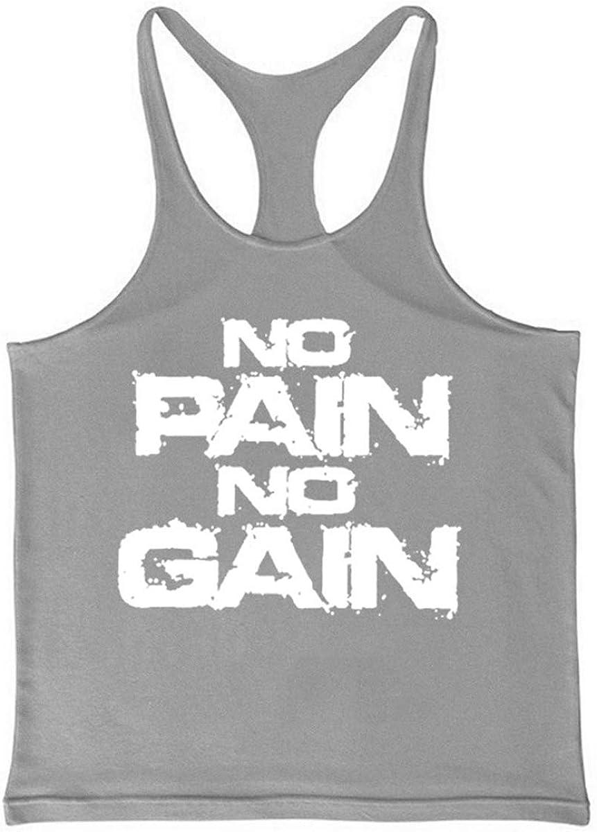 Cabeen No Pain No Gain Canotta Bodybuilding Smanicato Uomo Palestra Cotone Canottiera Gym Tank