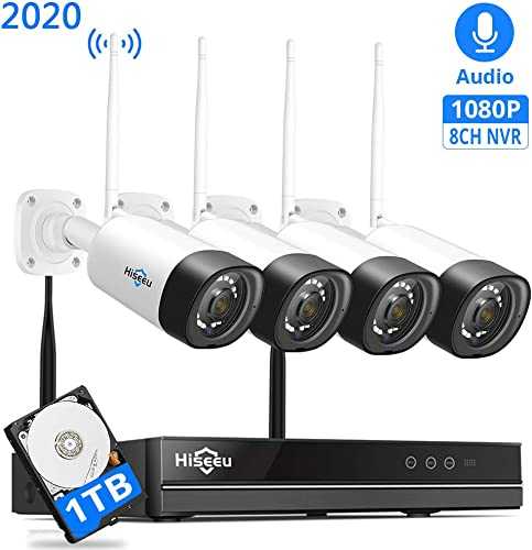 8Channel,Audio Hiseeu Wireless Security Camera System,4Pcs 1080P Cameras 8Channel NVR,Mobile PC Remote,Outdoor IP66 Waterproof,Night Vision,Motion Alert,Plug Play, 24 7 Motion Record,1TB HDD