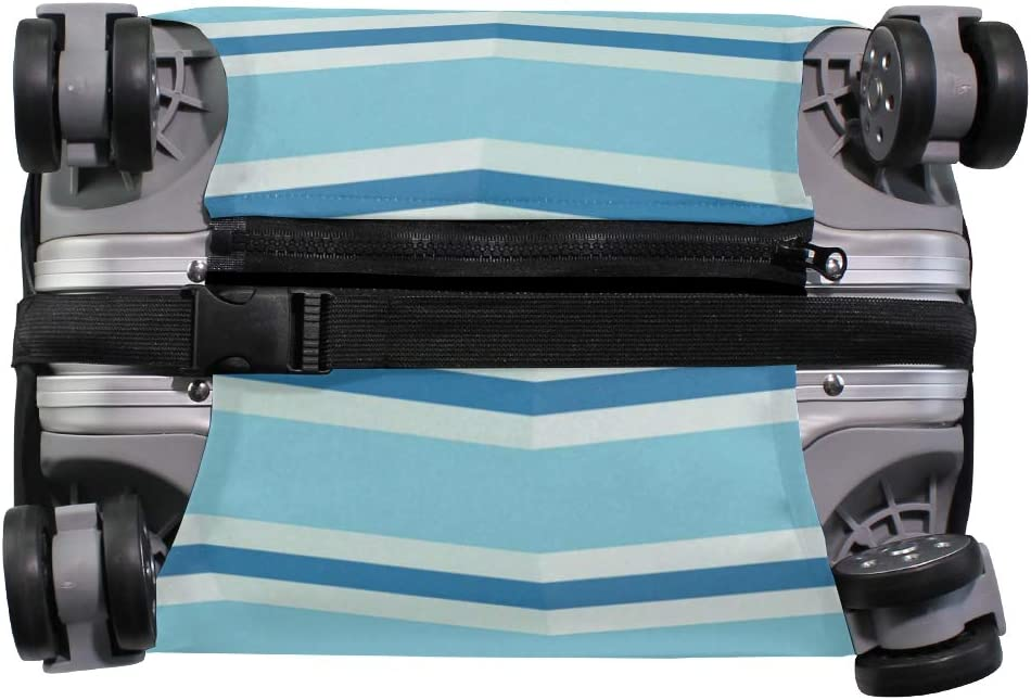 Travel Luggage Cover Chevron Stripes Pattern Blue Suitcase Protector