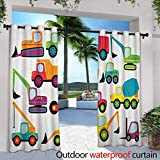 "LOVEEO Construction Curtains for Bedroom Cute Style Vehicles and Heavy Equipment Forklift Earthmover Excavator Mixer Darkening Thermal Insulated Blackout 84"" W x 108"" L Multicolor"