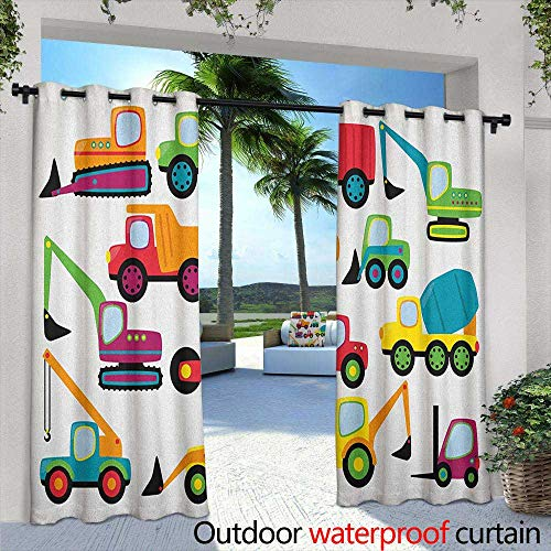"""LOVEEO Construction Outdoor Blackout Curtain Cute Style Vehicles and Heavy Equipment Forklift Earthmover Excavator Mixer Room Darkening, Noise Reducing 108"""" W x 72"""" L Multicolor"""