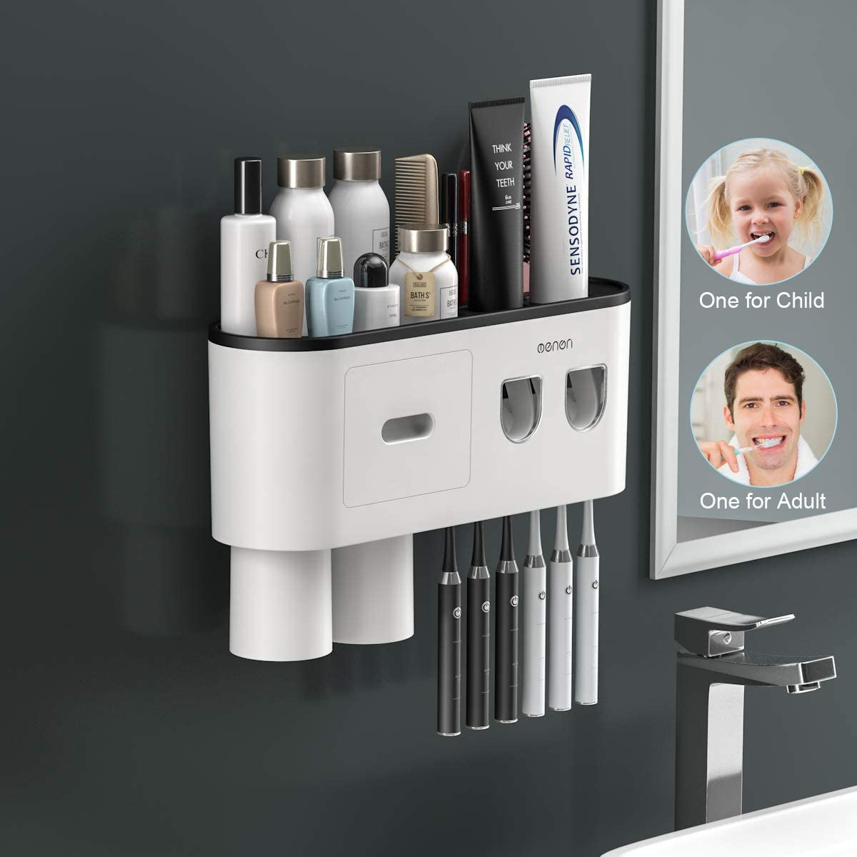TuCao Double Automatic Toothpaste Dispensers Squeezer Kit with Toothbrush Holder Wall Mounted, Large Storage Organizer with 6 Toothbrush Slots, 2 Magnetic Cups and Cosmetic Organizer Drawer (2 Cups)