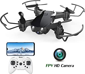 Mini Drone with Camera for Kids and Adults, EACHINE E61HW WiFi FPV Quadcopter with HD Camera Selfie Pocket Nano Drone for Beginner RTF - Altitude Hold Mode, One Key Take Off/Landing, APP Control