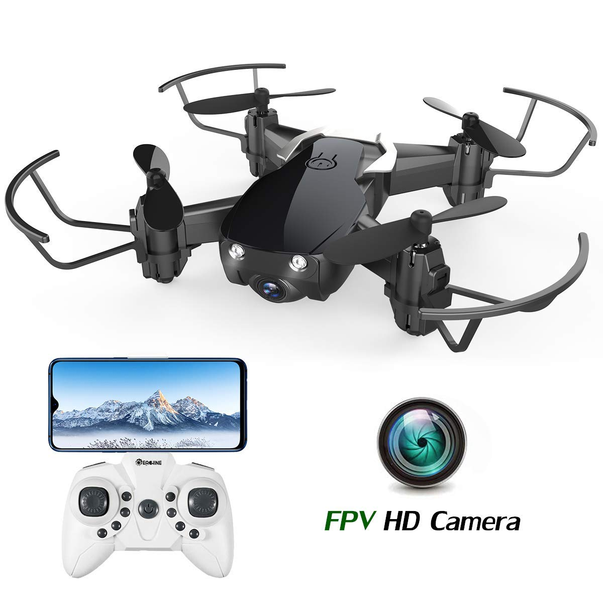 Mini Drone with Camera for Kids and Adults, EACHINE E61HW WiFi FPV Quadcopter with HD Camera Selfie Pocket Nano Drone for Beginner RTF - Altitude Hold Mode, One Key Take Off/Landing, APP Control by EACHINE