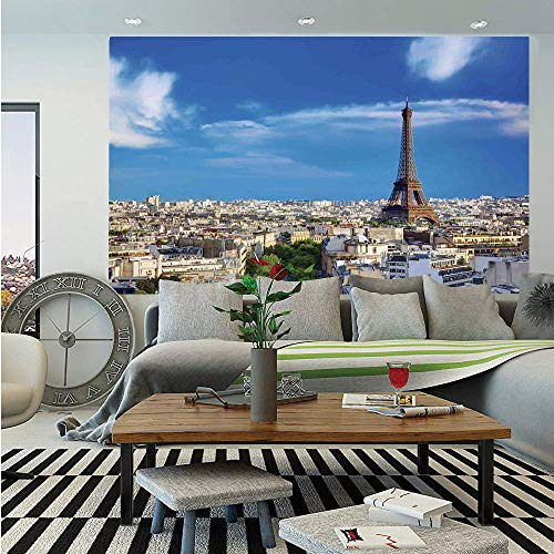 (SoSung Eiffel Tower Wall Mural,Rooftop View Eiffel Tower from Arc de Triomphe Sunny Day Clear Sky Cityscape,Self-Adhesive Large Wallpaper for Home Decor 83x120 inches,Blue Beige)