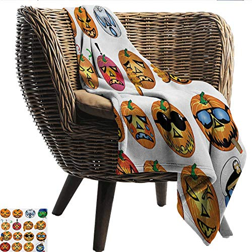 Decorative Throw Blanket Halloween Carved Pumpkin with Emoji Faces Halloween Inspired Humor Hipster Monsters Artwork Anti-Static Throw W54 xL84 Sofa,Picnic,Camping,Beach,Everyday -