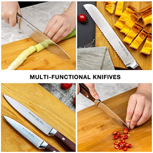 Emojoy Knife set, Kitchen Knife Set, Wooden Block 6 Pieces Knife Set with Block, German Stainless Steel (1) by Emojoy (Image #3)