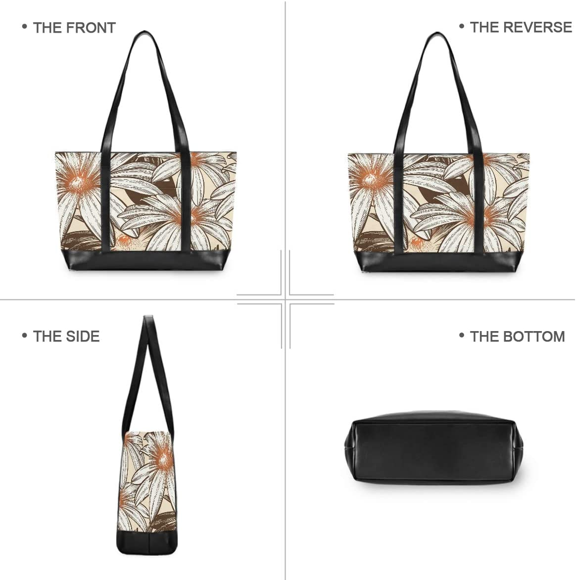 Vintage Flowers Daisy Laptop Tote Bag,Fits 15.6 Inch Laptop,Womens Lightweight Canvas Leather Tote Bag Shoulder Bag