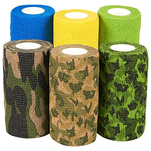 Self Adherent Wrap - 6 Pack of Camo Cohesive Bandage Medical Vet Tape for First Aid, Sports, Wrist, Ankle in 6 Varied Camouflage and Solid Colors, 4 Inches x 5 Yards