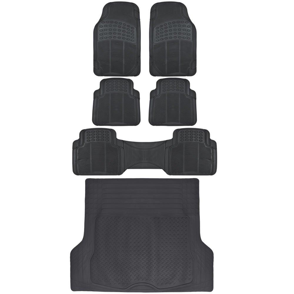 BDK 6pc Black Cargo Rubber Car Floor Mats All Weather Heavy Duty Set [Black]