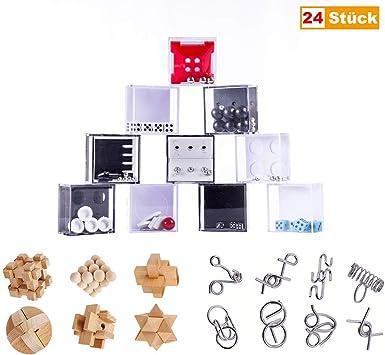 Rompecabezas Madera y Metal, 24 Piezas Mini Juegos Rompecabezas Puzles de Laberintos y 3D Puzzles Rompecabezas IQ Juguete Educativos Habilidad Juego Logica Calendario de Adviento para Niños y Adultos: Amazon.es: Juguetes y