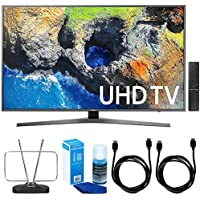 Samsung UN55MU7000 54.6' 4K Ultra HD Smart LED TV (2017 Model) w/ TV Cut The Cord Bundle Includes, Durable HDTV & FM Antenna, 2x 6ft. High Speed HDMI Cable & Screen Cleaner (Large Bottle) for LED TVs