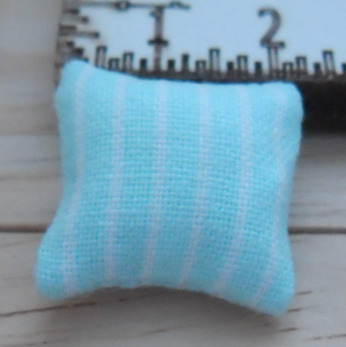 Stripes Design in Pale Blue and White 1//24th Scale Dolls House Printed Fabric Cushions