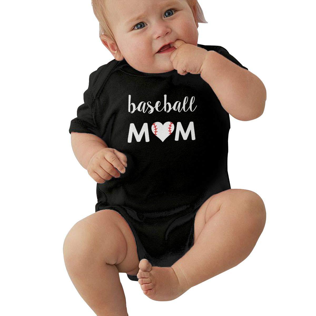 Dfenere Baseball Mom Fashion Newborn Baby Short Sleeve Bodysuit Romper Infant Summer Clothing Black