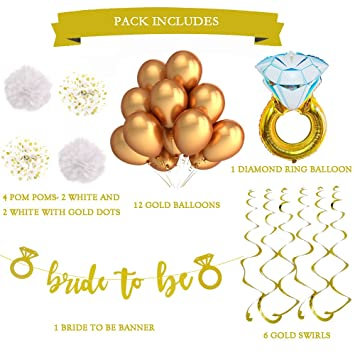 white and gold bachelorette party decorations and accessories for a classy bridal shower or engagement