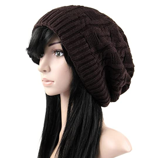 ab8d8995190 Belsen Women Thick Slouchy Knit Winter Hat Oversized Baggy Long Beanie Cap  (Brown) at Amazon Women s Clothing store