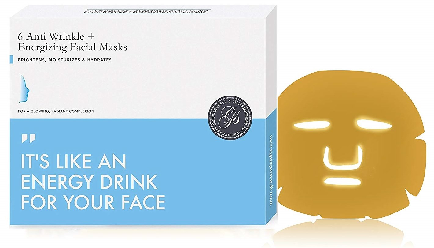 PREMIUM Gold Face Mask with Collagen & Hyaluronic Acid 6 Pack Grace & Stella Co.