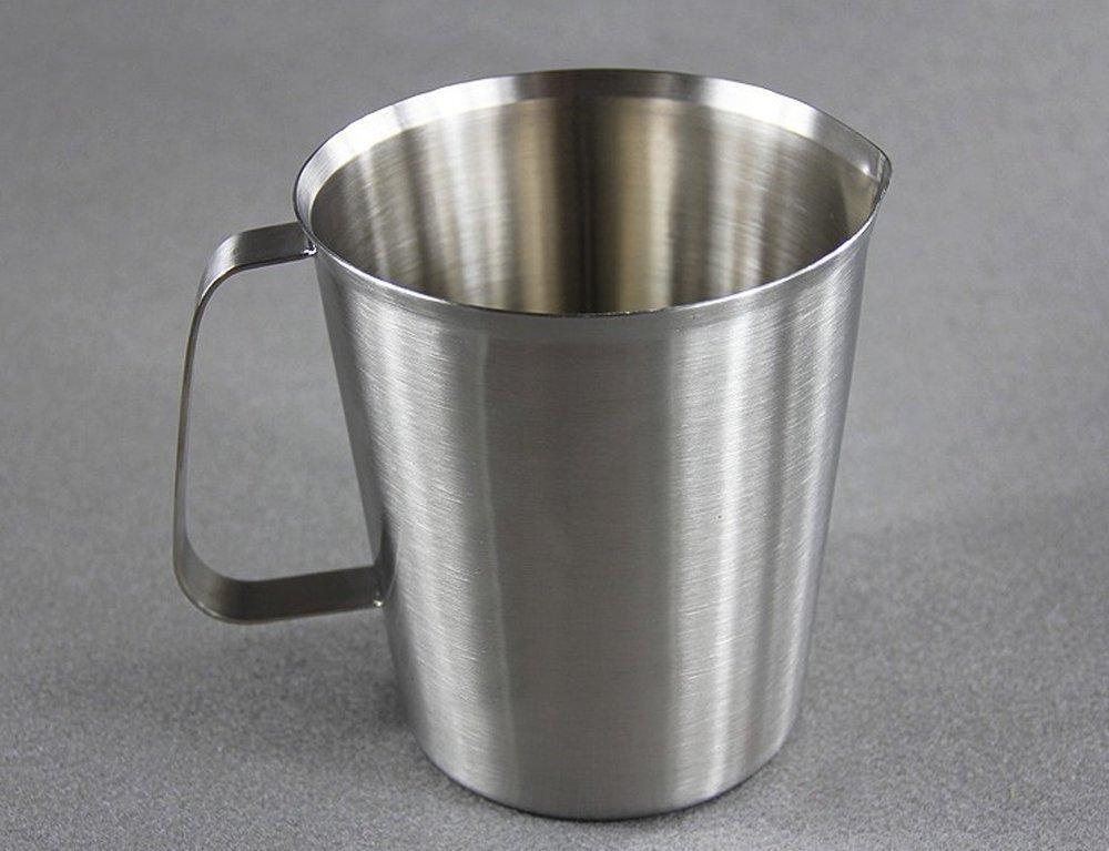 lautechco ®ミルクコーヒーカップステンレススチールMeasuring Cup withハンドルOz & CCマーク 2000ml シルバー AM005475 2000ml  B01K78JHMG