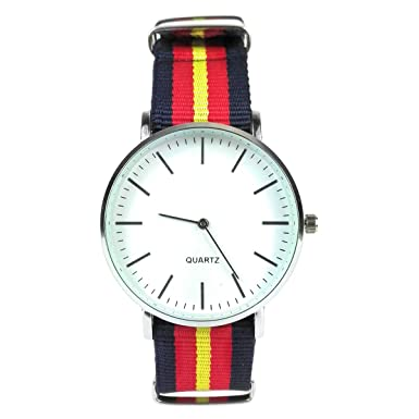 MYB Reloj de pulsera - Correa de tela - Cuadrante de cristal - Cuadrante de 3,8 cm - Correa disponible en varios colores (MULTI2-1): Amazon.es: Relojes