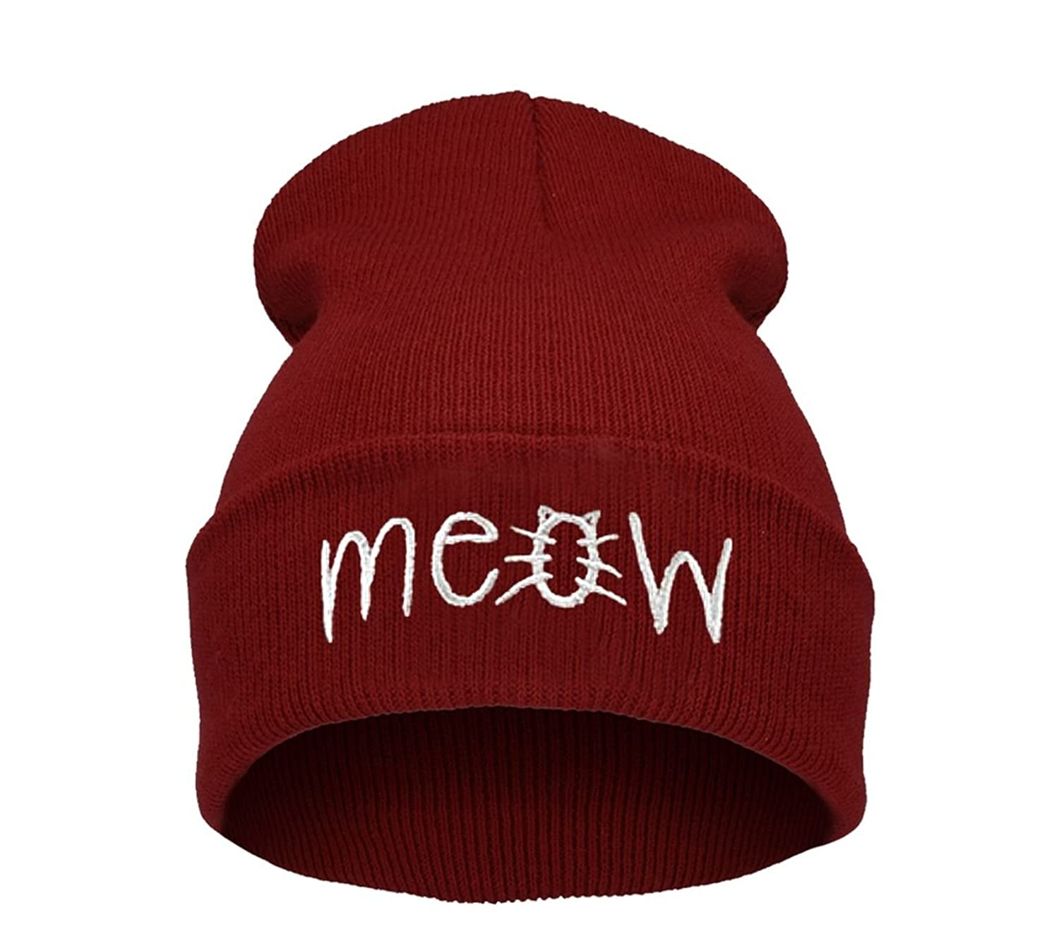 Beanie Hüte Mützen Damen Herren Bad Hair Day Bastard Meow Swag Wasted Commes HAT HATS Morefazltd (TM(meow dark red)
