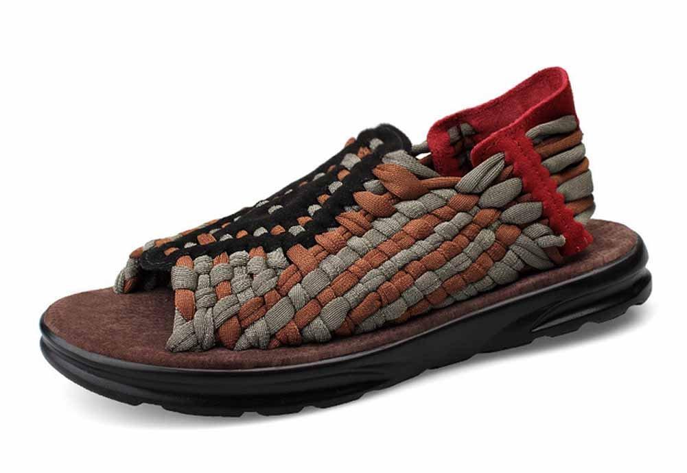 GLSHI Männer Atmungsaktive Sandalen 2018 Sommer Neue Casual Strand Schuhe Handgewebte Leichte Hausschuhe