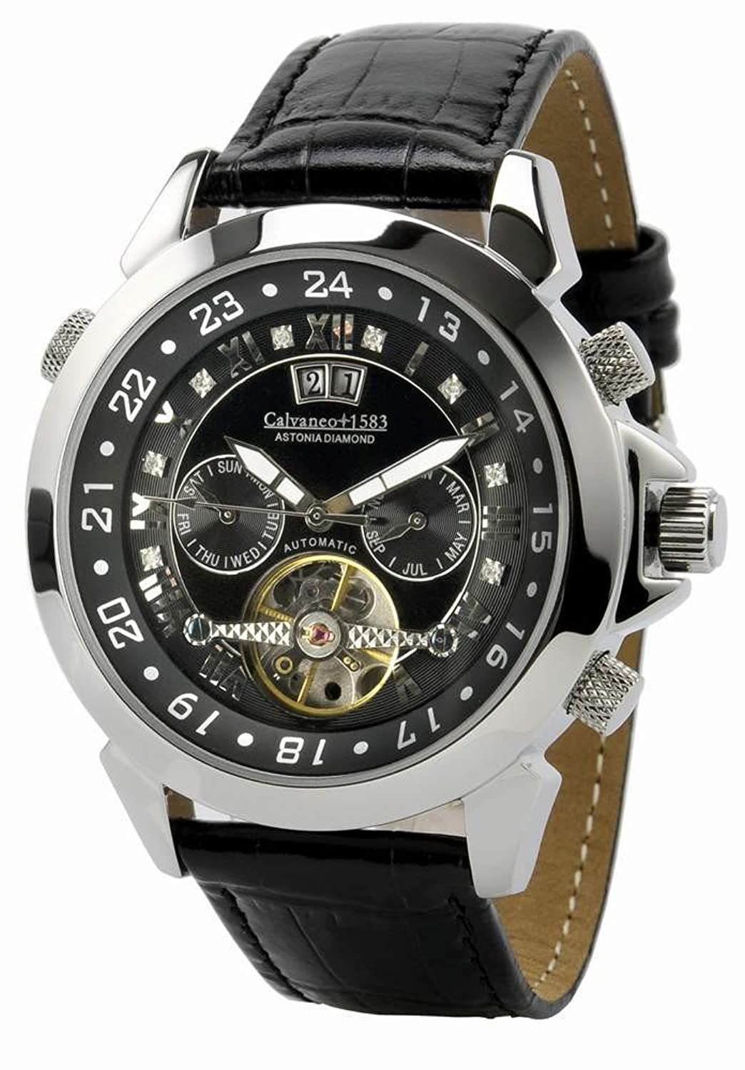 Calvaneo 1583 Astonia 'Black DIAMOND Steel' Automatikuhr mit Diamantbesatz