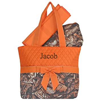 8bf68867807c Amazon.com   Personalized Camo Orange Infants Quilted Diaper Tote Bag   Baby
