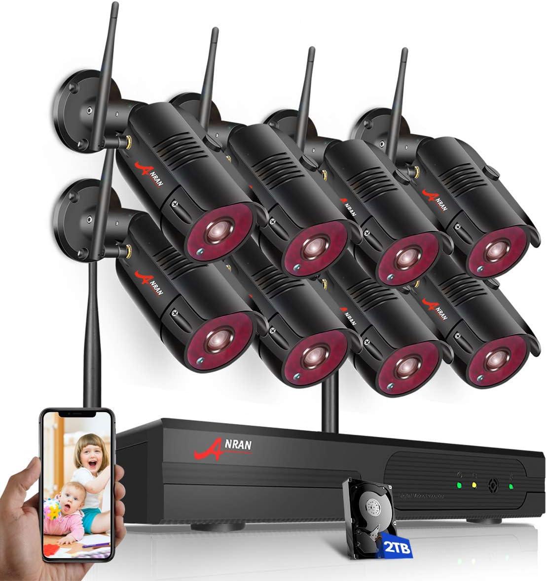 ANRAN 2MP Wlan CCTV Tonaufnahme Überwachungskameras System Funk 8CH NVR 1TB HDD
