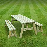 ROUNDED OAKHAM PICNIC TABLE AND BENCH SET - PUB STYLE BENCH - 5FT - HEAVY DUTY - HAND MADE - LIGHT GREEN - PRESSURE TREATED!!