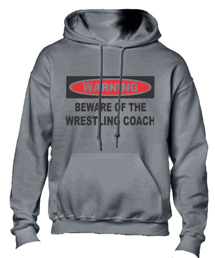 T-ShirtFrenzy Beware Of The Wrestling Coach Adult Hoodie Hooded Sweatshirt Grey Large by T-ShirtFrenzy