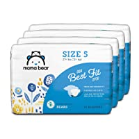Amazon Brand - Mama Bear Best Fit Diapers Size 5, 124 Count, Bears Print (4 packs...