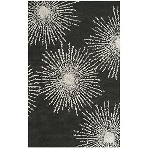 Safavieh Soho Collection SOH712H Handmade Fireworks Charcoal and Ivory Premium Wool Area Rug (6' x 9') Soho Living Room