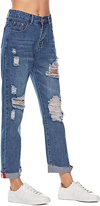 Naliha Pantalones Vaqueros Rasgados De Talle Alto Pantalones