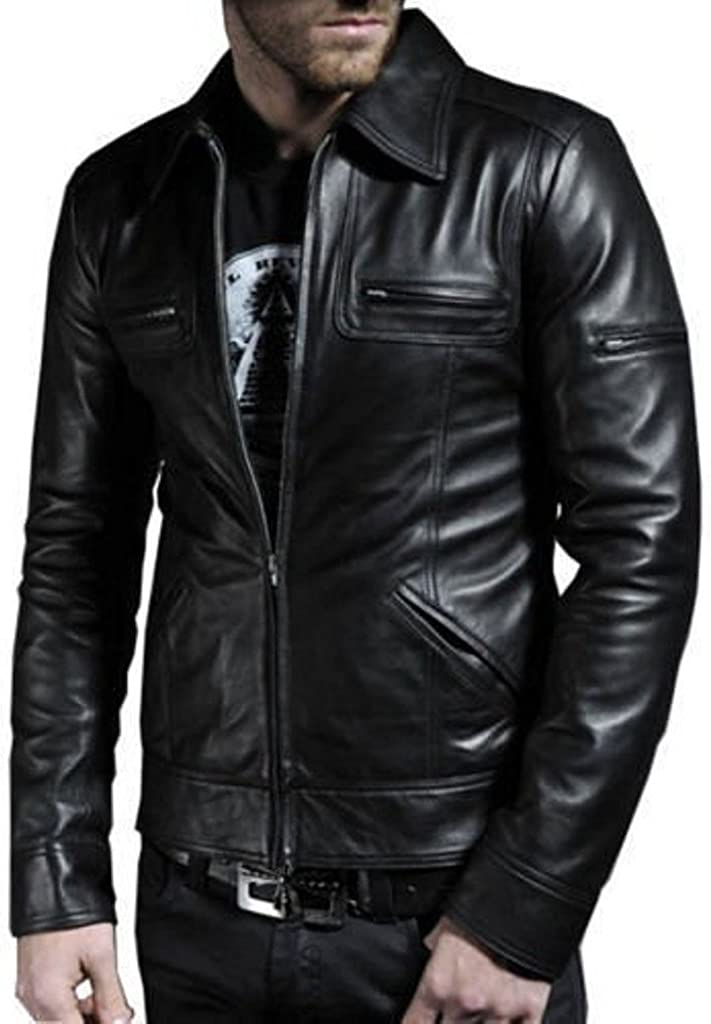 Designer Genuine Lambskin Leather Motorcycle Overcoat LT658