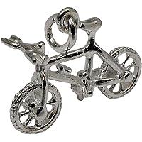 niceandnoble Colgante Cross Rueda Bicicleta Reversible Colgante Real Plata 925Plata de Ley